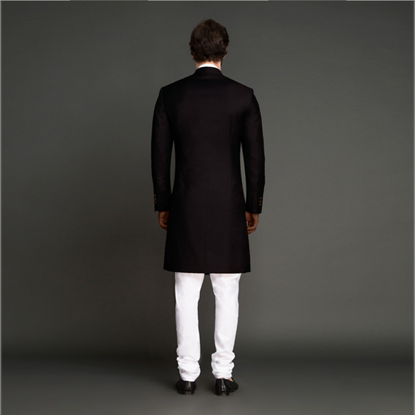 Classic Solid Black Achkan-mbview-2