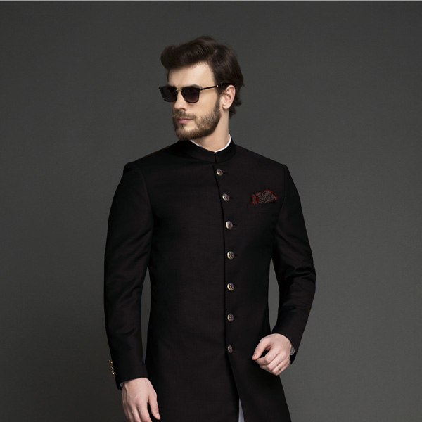 Classic Solid Black Achkan-mbview-3