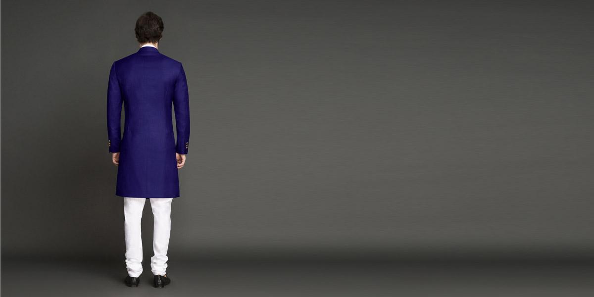 Indigo Blue Achkan- view-2