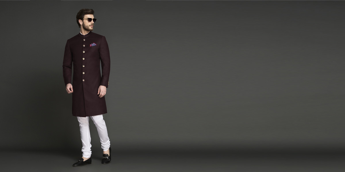 Sultan Brick Achkan- view-1