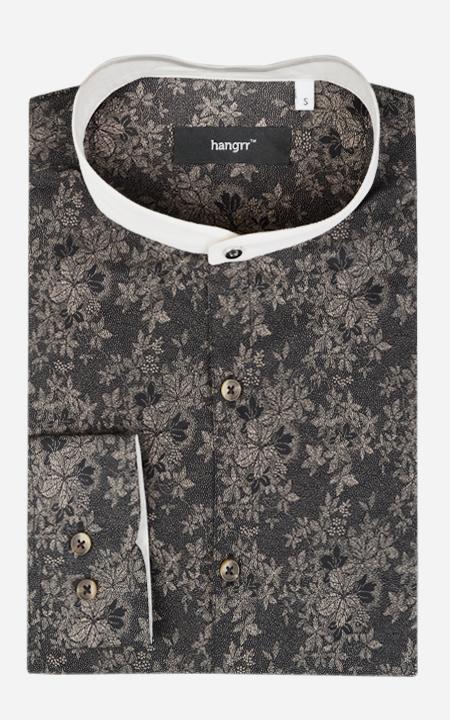 Balinese Black Floral Shirt