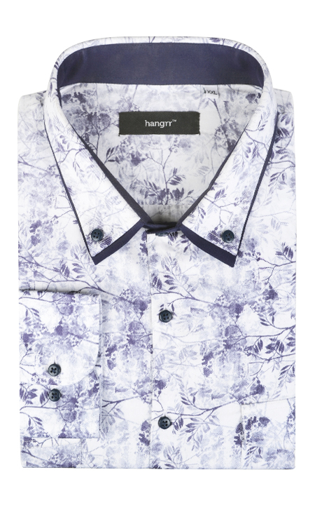 Japanese Blue Floral Shirt
