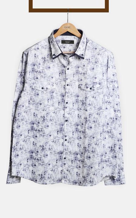Japanese Blue Floral Shirt