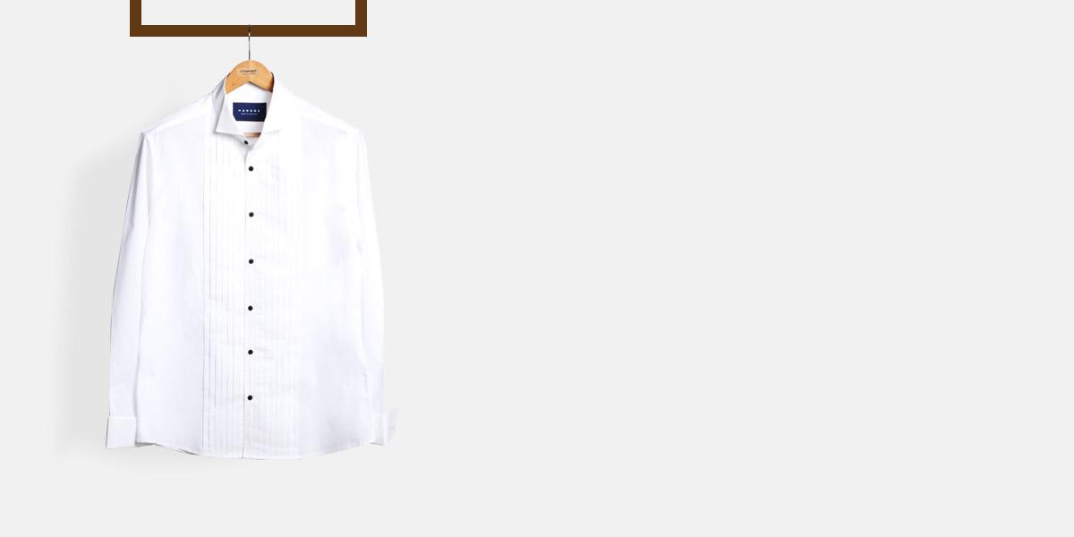 Crisp White Pleated Tuxedo Shirt- view-1