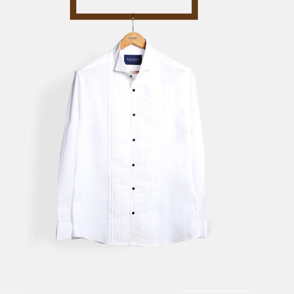 Crisp White Pleated Tuxedo Shirt-mbview-1