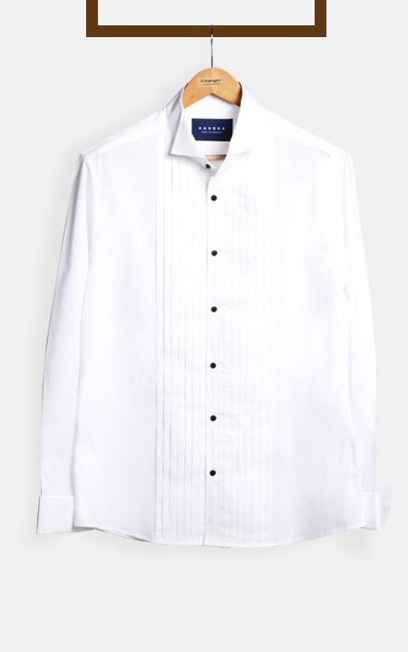 Crisp White Pleated Tuxedo Shirt