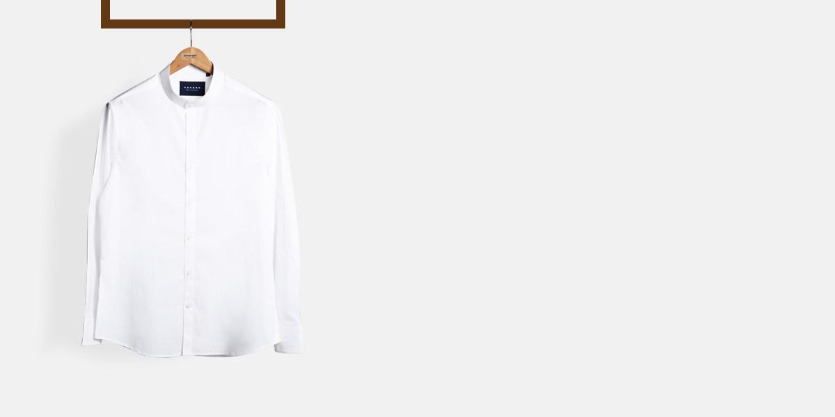 Classic White Mandarin Shirt- view-1