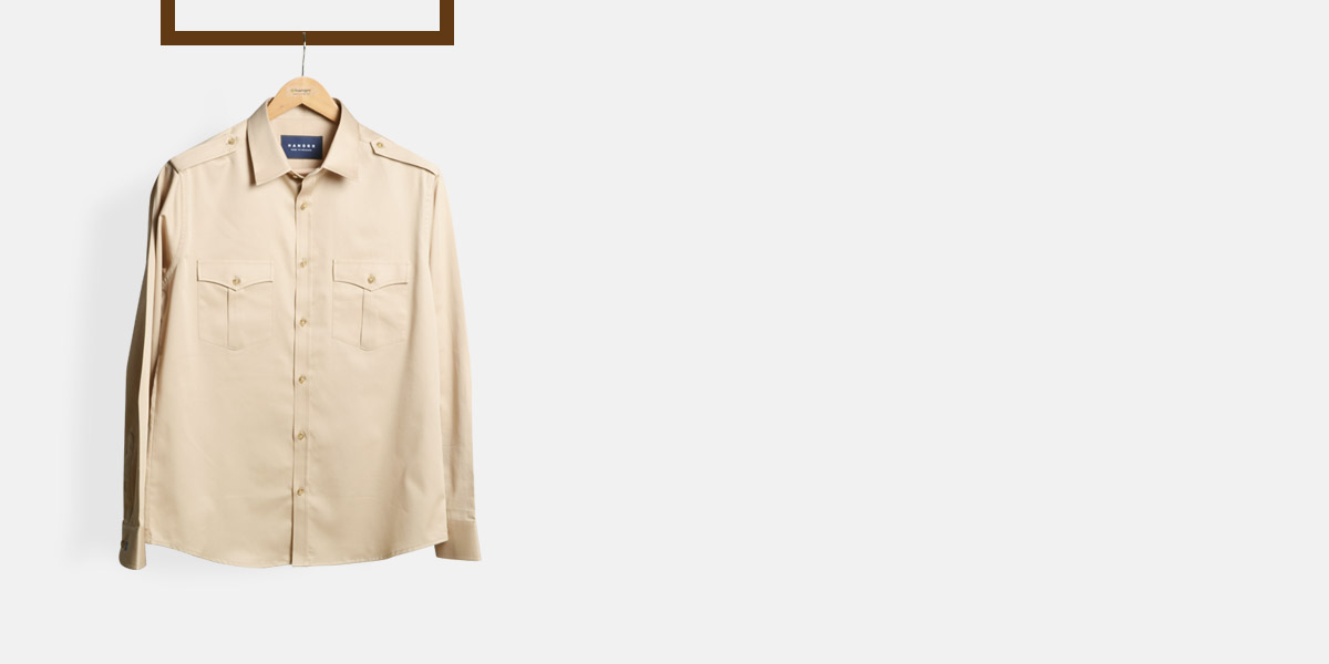 Military Brown Cotton Shirt- view-1