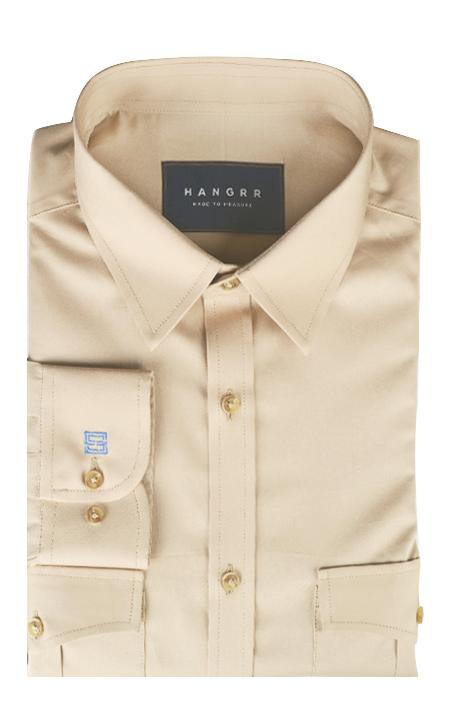Military Brown Cotton Shirt