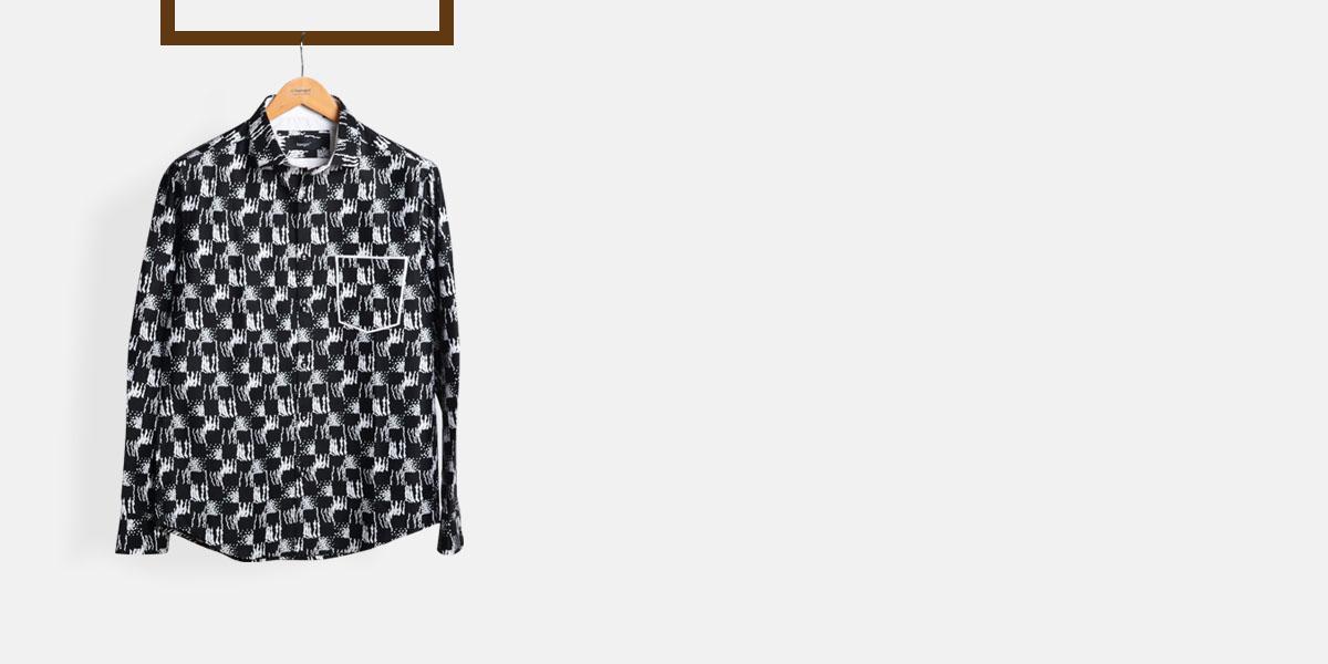 White Black Batik Print Shirt- view-1