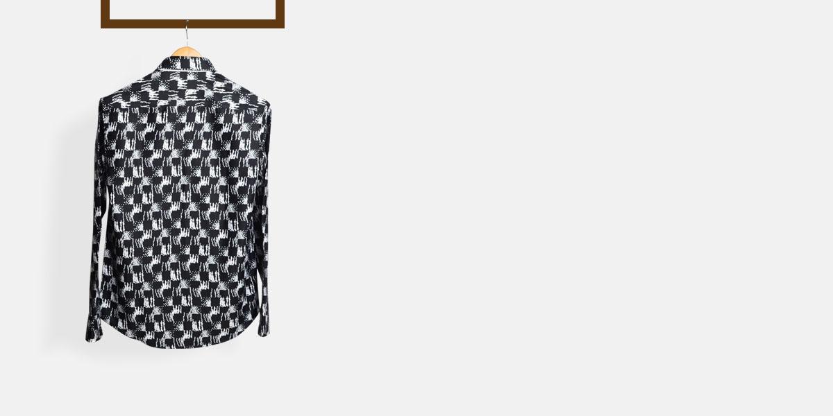 White Black Batik Print Shirt- view-2