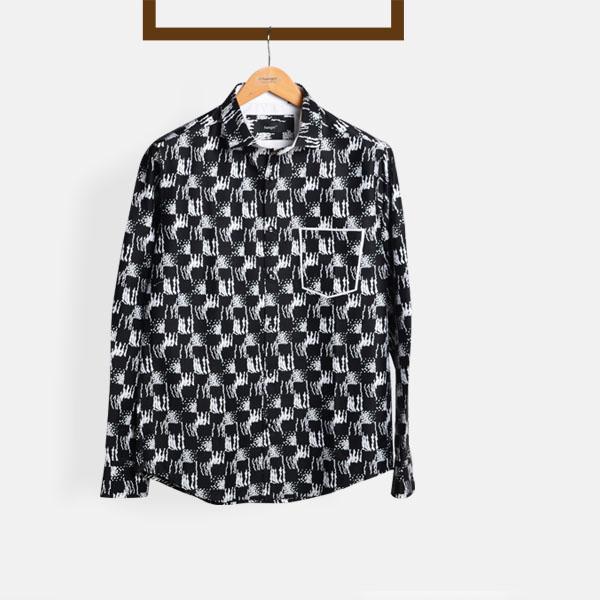White Black Batik Print Shirt-mbview-main
