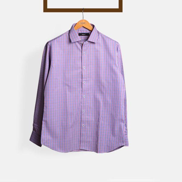 Blue & White Microcheck Shirt-mbview-main