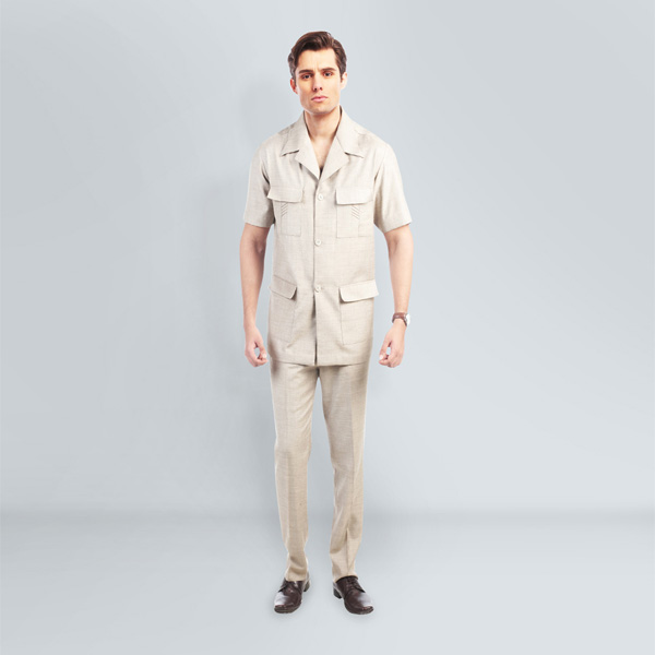 Sharkskin Khaki Safari Suit-mbview-1