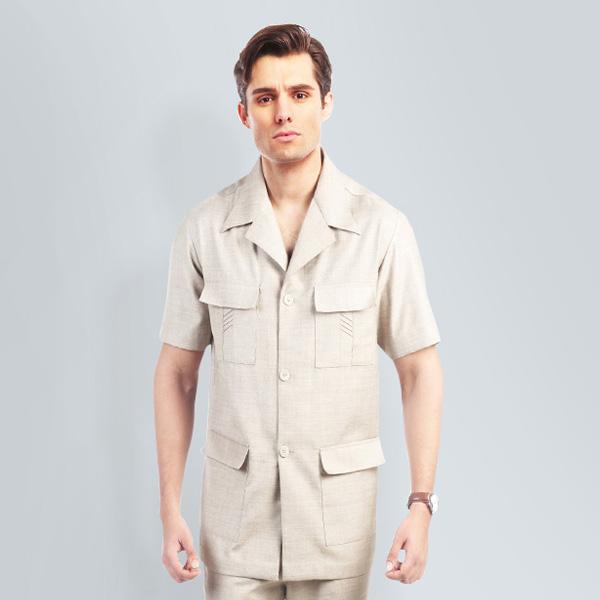 Sharkskin Khaki Safari Suit-mbview-2