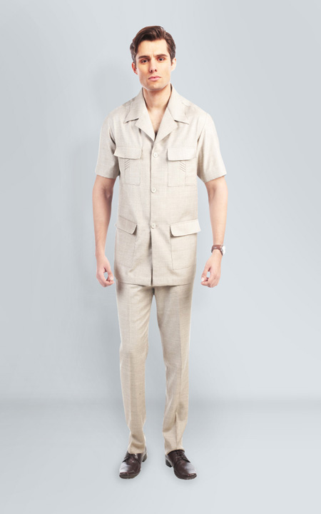 Sharkskin Khaki Safari Suit