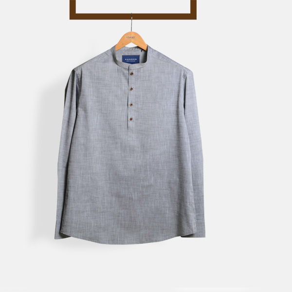 Imperial Chambray Gray Henley Shirt-mbview-1