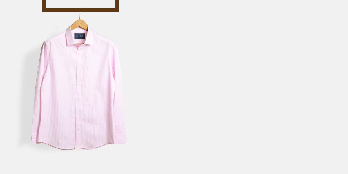 Salmon Pink Striped Shirt- view-1