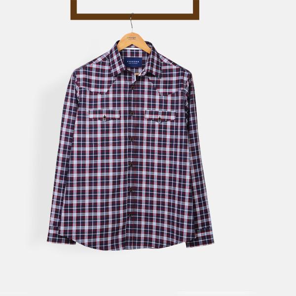 Maroon And Gray Checks Shirt-mbview-1