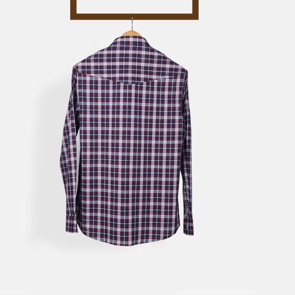 Maroon And Gray Checks Shirt-mbview-2