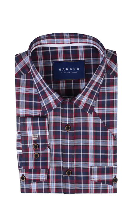 Maroon and Gray Checks Shirt