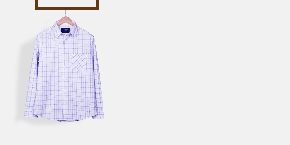 Two-Tone Blue Checks Shirt- view-1