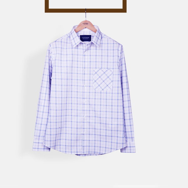 Two-Tone Blue Checks Shirt-mbview-1