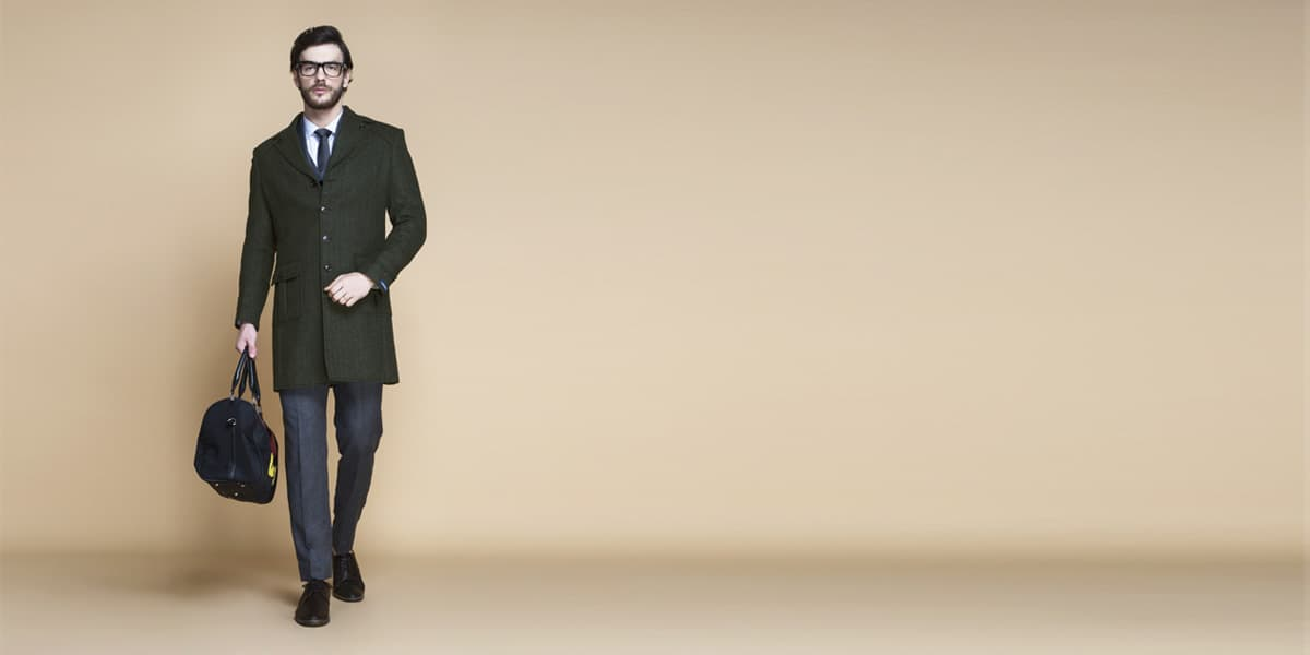 Sea Green Herringbone Wool Overcoat- view-1