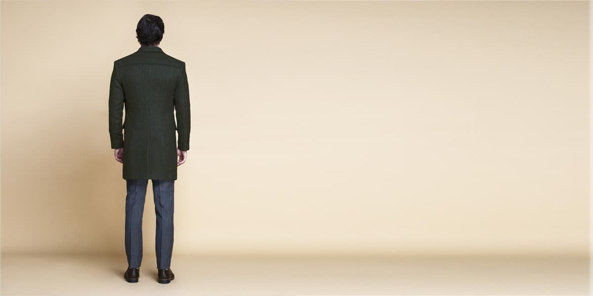 Sea Green Herringbone Wool Overcoat- view-2