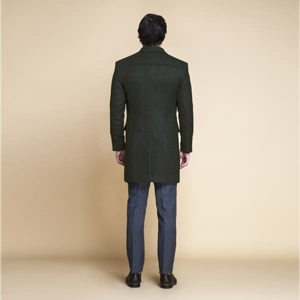 Sea Green Herringbone Wool Overcoat-mbview-2