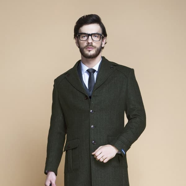 Sea Green Herringbone Wool Overcoat-mbview-3