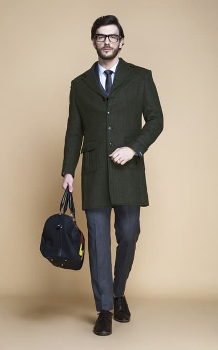 Sea Green Herringbone Wool Overcoat