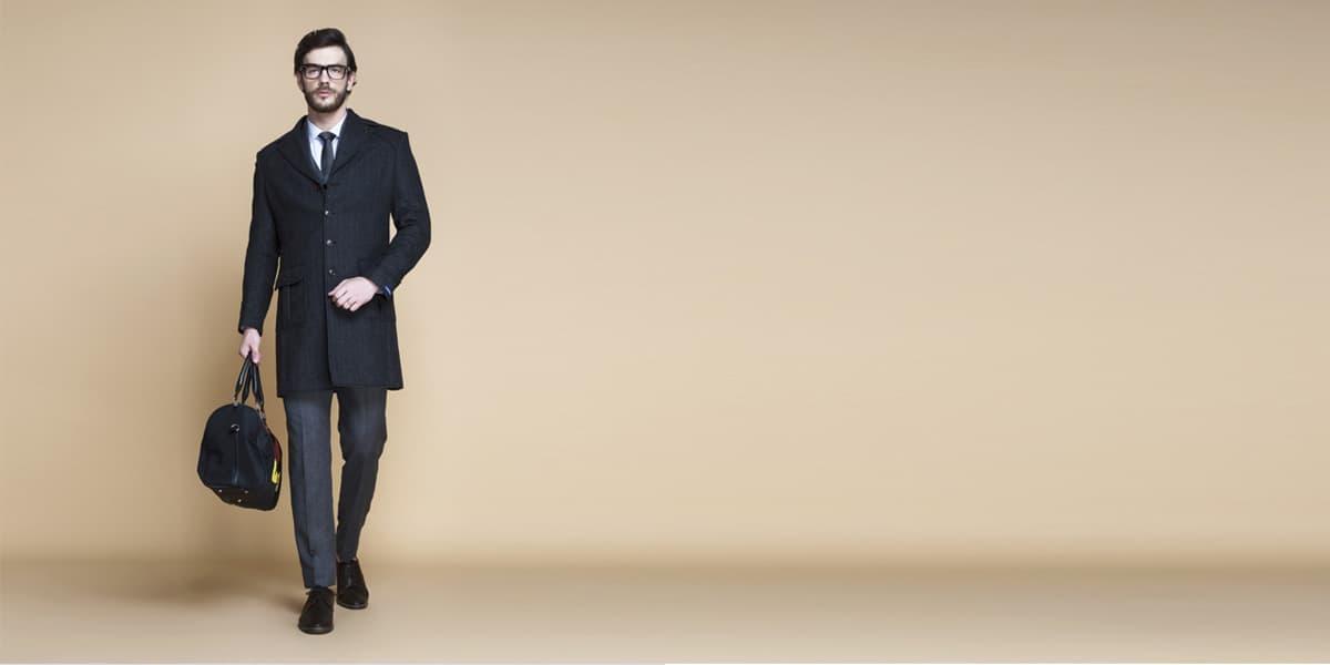 Charcoal Herringbone Wool Overcoat- view-1