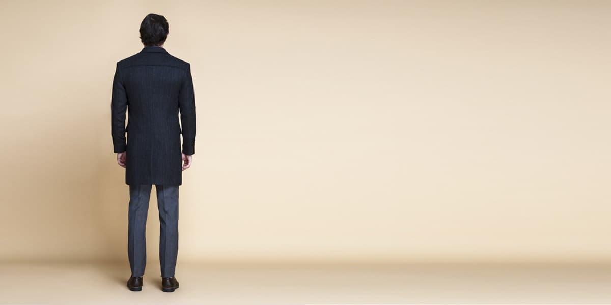 Charcoal Herringbone Wool Overcoat- view-2