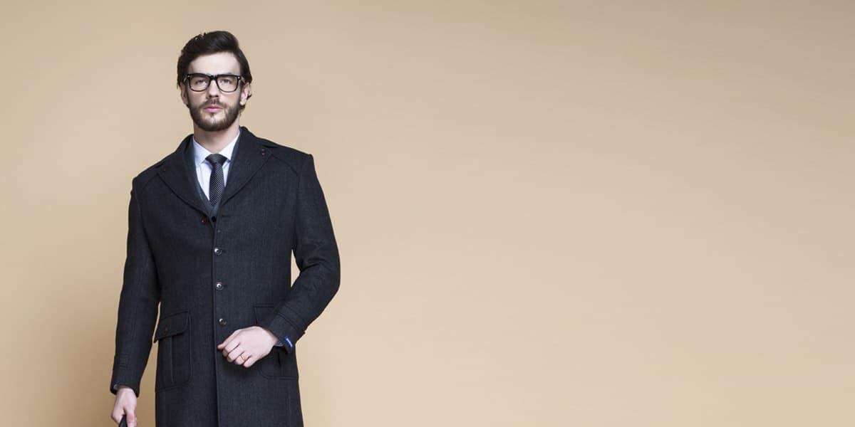 Charcoal Herringbone Wool Overcoat- view-3