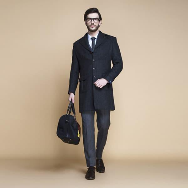 Charcoal Herringbone Wool Overcoat-mbview-1