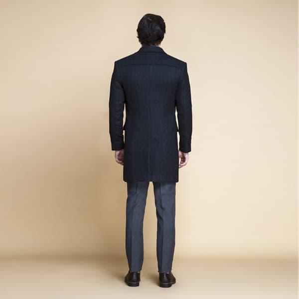Charcoal Herringbone Wool Overcoat-mbview-2