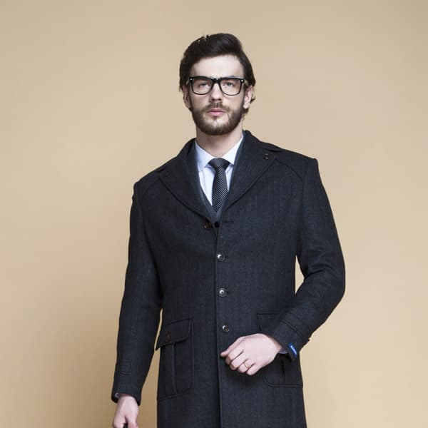 Charcoal Herringbone Wool Overcoat-mbview-3