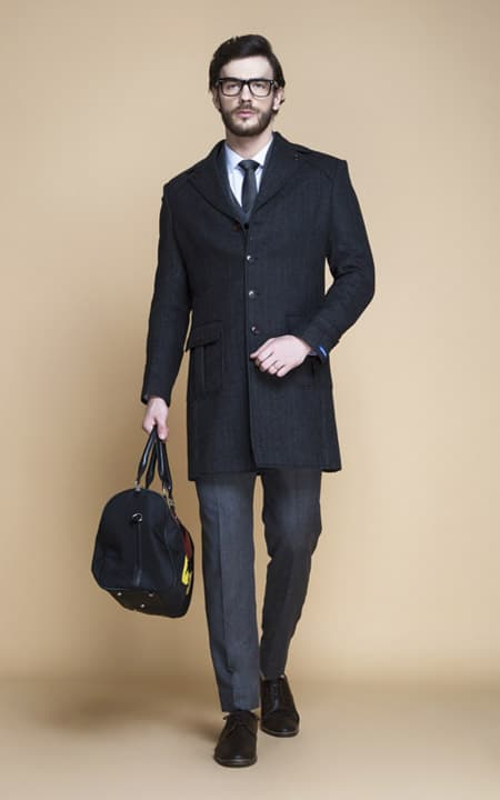 Charcoal Herringbone Wool Overcoat
