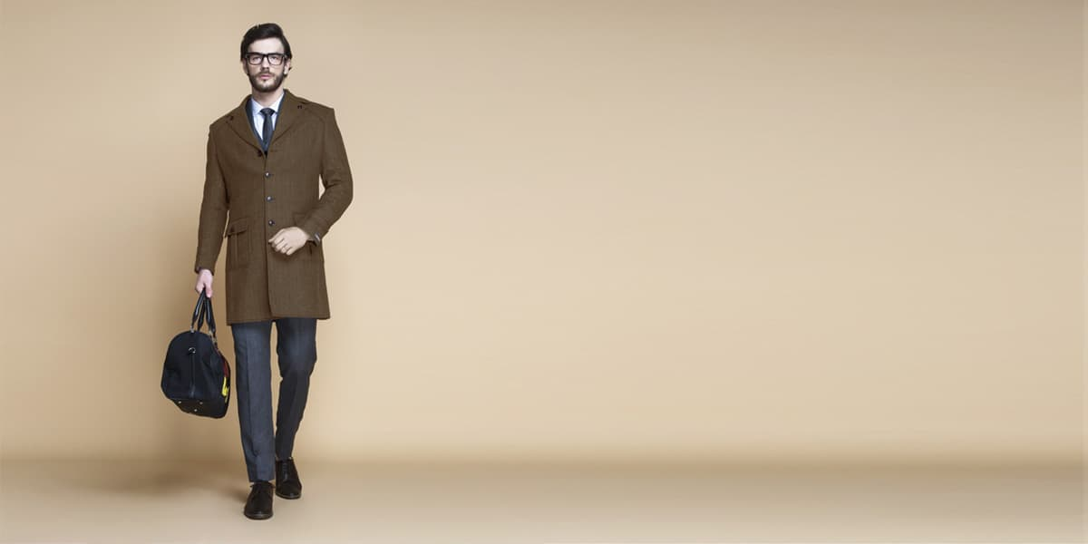 Brown Herringbone Wool Overcoat- view-1