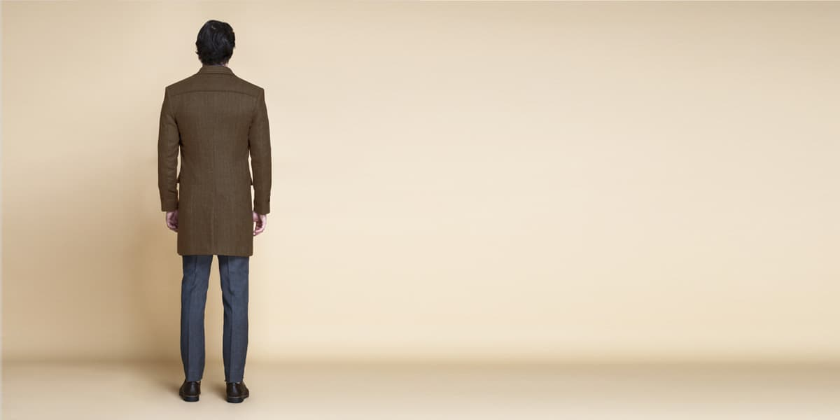 Brown Herringbone Wool Overcoat- view-2