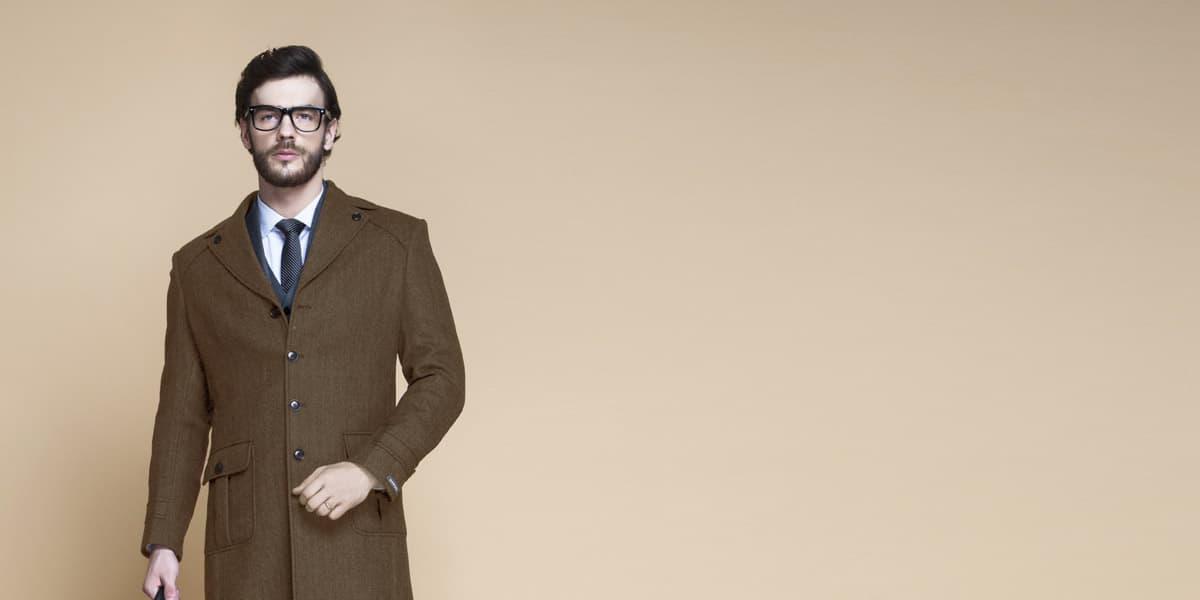 Brown Herringbone Wool Overcoat- view-3