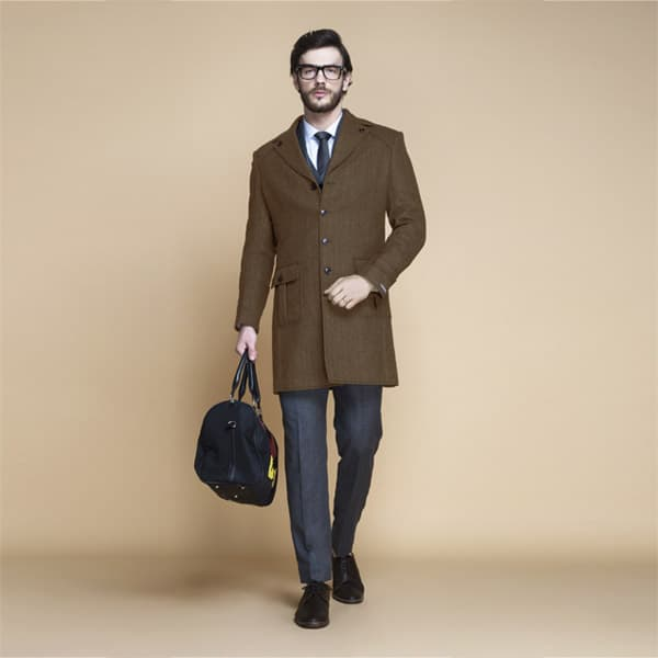 Brown Herringbone Wool Overcoat-mbview-1