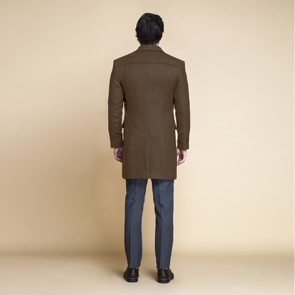 Brown Herringbone Wool Overcoat-mbview-2