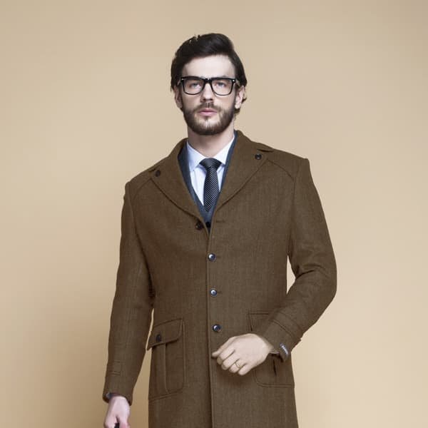 Brown Herringbone Wool Overcoat-mbview-3