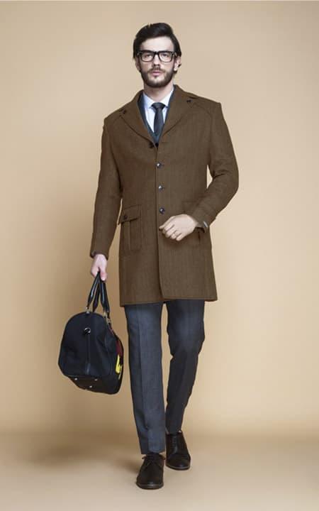 Brown Herringbone Wool Overcoat