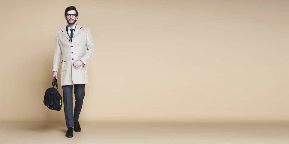 Cream Herringbone Wool Overcoat- view-1