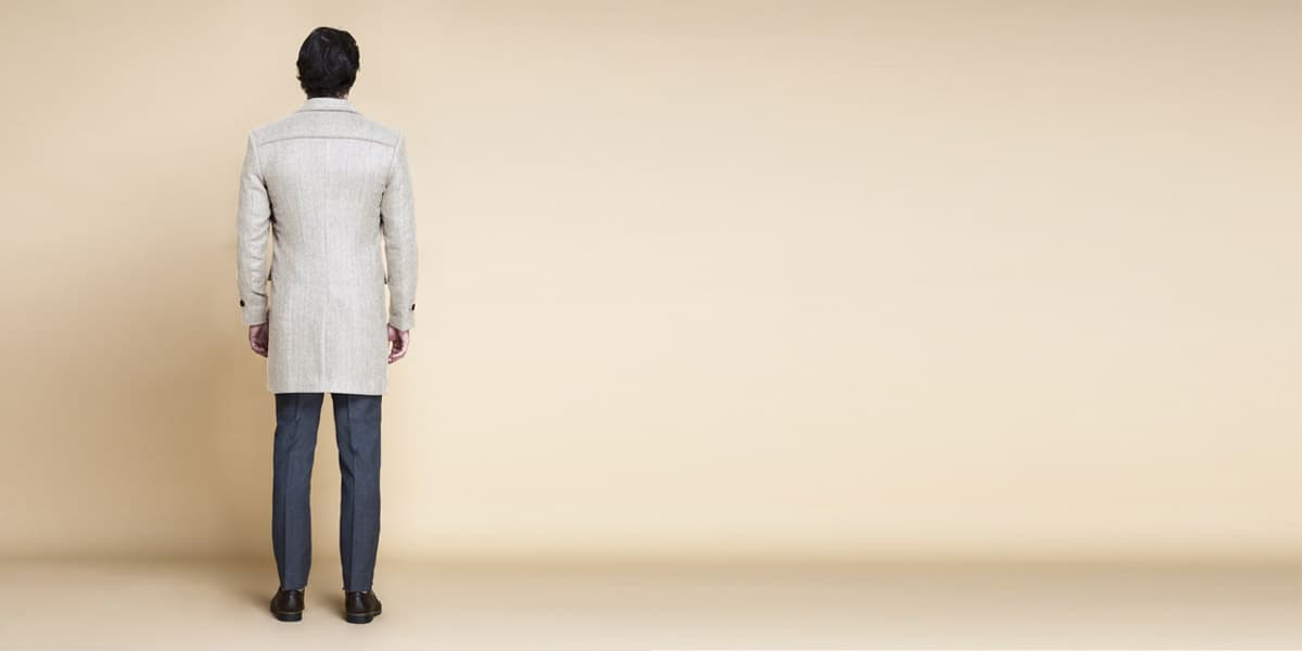 Cream Herringbone Wool Overcoat- view-2