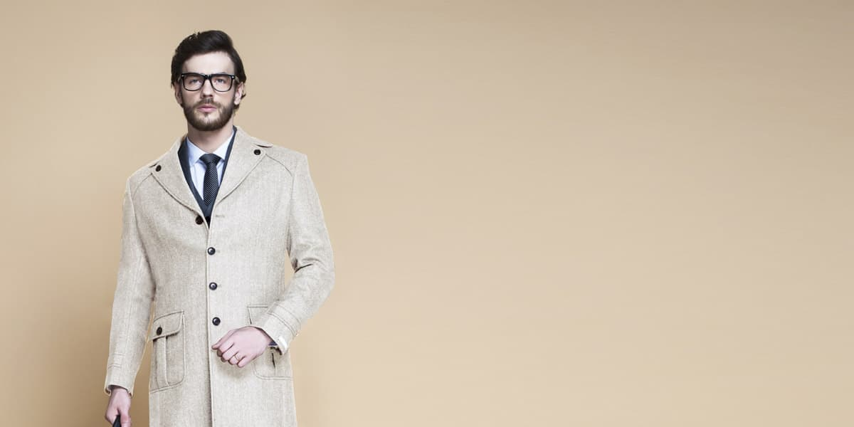 Cream Herringbone Wool Overcoat- view-3