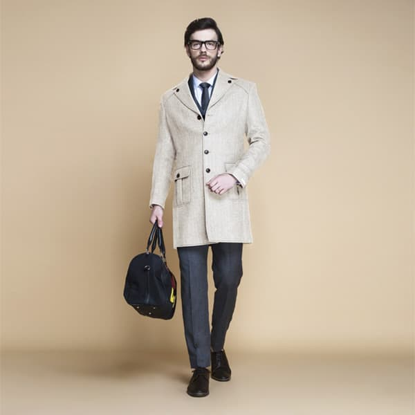Cream Herringbone Wool Overcoat-mbview-1